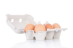 Half dozen  brown chicken eggs Stock Photos