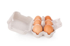 Half dozen brown chicken eggs in box Stock Image