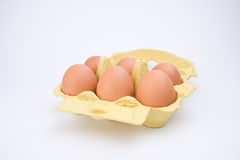 Half Dozen Brown Eggs Stock Photo