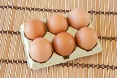 Half dozen eggs Stock Images
