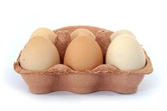 Half Dozen Free Range Hens Eggs Box Front View. Six large free range chicken/hens eggs in their box on a white background Royalty Free Stock Images