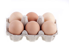 Half dozen fresh eggs in box. Isolated on white Stock Image