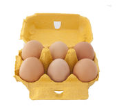 Half dozen fresh eggs in box Royalty Free Stock Photo
