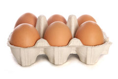 Half dozen fresh eggs cutout Royalty Free Stock Photography