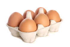 Half dozen fresh eggs cutout Stock Photo