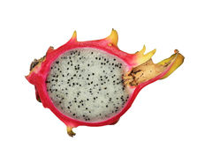 A half dragon fruit, isolated on white Royalty Free Stock Photo