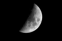 Half earth moon with craters Royalty Free Stock Photo