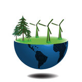 Half earth with wind turbines. Abstract colorful illustration with half earth with grass, pin trees and eolian wind turbines Royalty Free Stock Photos