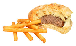 Half Eaten Beef Burger And Fries Royalty Free Stock Image