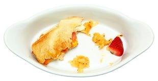 Half Eaten Egg Sandwich, Hashbrown, Strawberry Stock Image
