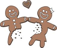 Half Eaten Gingerbread Man and Woman in Love. Vector Illustration. Transparent Background. Perfect for Christmas of Valentine`s Day Stock Image