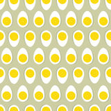 Half egg with yolk seamless ornament. Easter food tile pattern. Eggs seamless ornament. Easter food tile pattern. Floral doodle texture and half egg with yolk Royalty Free Stock Photography