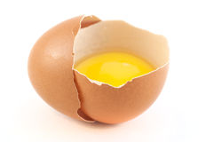 Half of the eggs with yolk on a white background  Stock Image