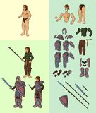 Half elf with full plate armour. Vector cartoon half elf body parts with epic equipment Stock Photo