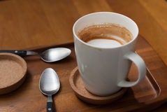 Half empty cups of coffee, caffe latte. Half-drunk hot caffe latte from a stylish cafe royalty free stock image
