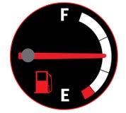Half empty gas tank. Illustration of fuel gauge on car dashboard Stock Photography