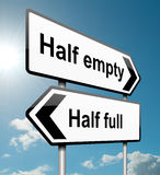 Half empty or half full. Illustration depicting a road traffic sign with a half empty, half full concept. White background Stock Photo
