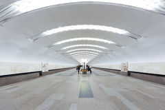 A half-empty Moscow subway station Royalty Free Stock Photography