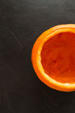 Half Empty Pumpkin Overhead Stock Photo