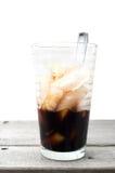 Half empty Vietnamese ice coffee glass Stock Image