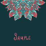 Half ethnic paisley ornament. Kaleidoscopic motif. Half ethnic paisley ornament. Kaleidoscopic ornament.  Template for menu, greeting card, invitation or cover Stock Photo