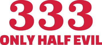 333 only half evil. In red Stock Images