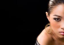 Half face Asian woman Royalty Free Stock Photo
