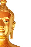 Half the face closeup buddha statue isolated on white background Royalty Free Stock Image