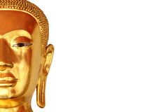 Half the face closeup buddha statue isolated on white background Stock Photos