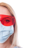Half face of dentist woman doctor on white copy space Stock Photo