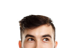 Half face expression looking on white Stock Image