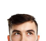Half face expression looking on white Royalty Free Stock Photos