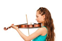 Half-face of girl with long hair playing violin Stock Photography