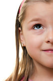 Half face girl portrait. Half face portrait of a cute young girl looking upwards, isolated on white Royalty Free Stock Photos