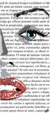 Half Face of girl with red lips on white newspaper like mere lin monroe. clip art of a beautiful woman with red lips like mere-lin. Monroe stock illustration