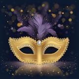 Half-face golden silk mask with purple feathers royalty free illustration