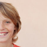 Half face of happy smiling boy child Stock Image