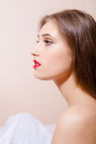 Half face picture of sexi young lady with perfect Royalty Free Stock Photography