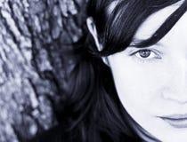 Half face portrait. Half face woman portrait, blue toned Stock Photo