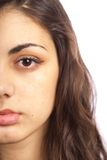 Half face portrait of an ethnic lady Stock Photos