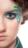 Half face portrait of sprite girl with faceart Royalty Free Stock Photos