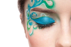 Half face portrait of sprite girl with faceart Royalty Free Stock Photography