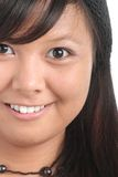 Half face smiling. Young asian woman half face smiling Stock Photo