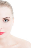 Half face of woman wearing red lipstick on white background. And copy space Royalty Free Stock Images