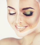 Half faced woman before tanning and after close up isolated on w Royalty Free Stock Photo