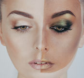 Half faced woman before tanning and after Stock Photography