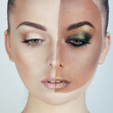 Half faced woman before tanning and after Stock Photo
