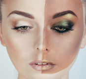 Half faced woman before tanning and after, creative make up Royalty Free Stock Photo