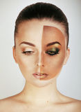 Half faced woman before tanning and after, creative make up Royalty Free Stock Image