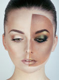 Half faced woman before tanning and after, creative make up Royalty Free Stock Images